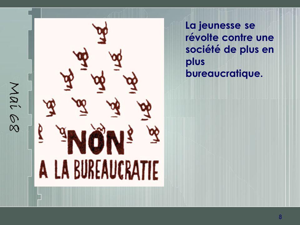 Mai 68 La jeunesse se révolte contre une société de plus en plus bureaucratique.