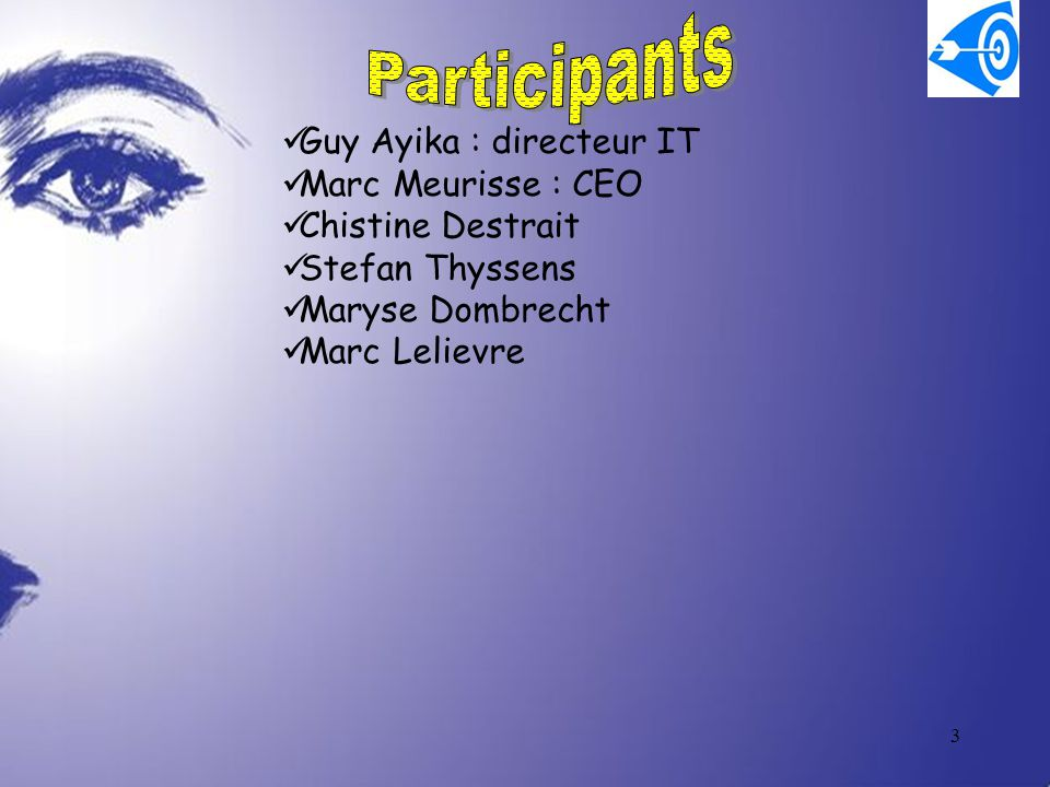 Participants Guy Ayika : directeur IT Marc Meurisse : CEO