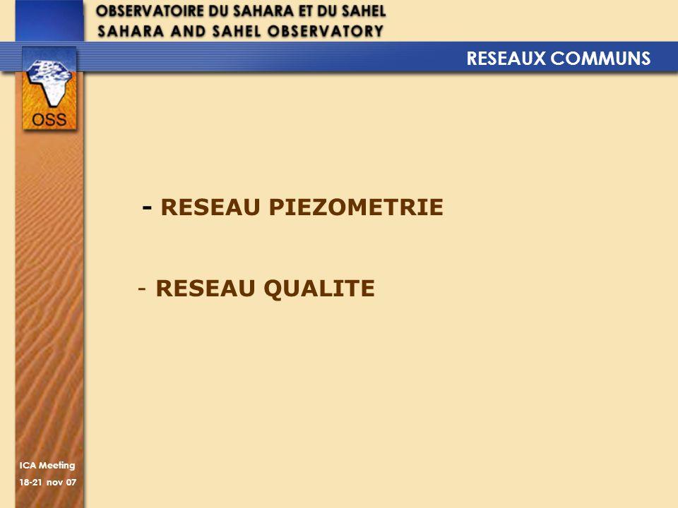 RESEAUX COMMUNS - RESEAU PIEZOMETRIE RESEAU QUALITE