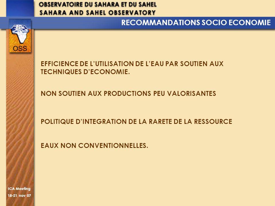 RECOMMANDATIONS SOCIO ECONOMIE
