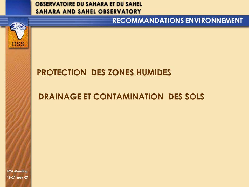 RECOMMANDATIONS ENVIRONNEMENT DRAINAGE ET CONTAMINATION DES SOLS