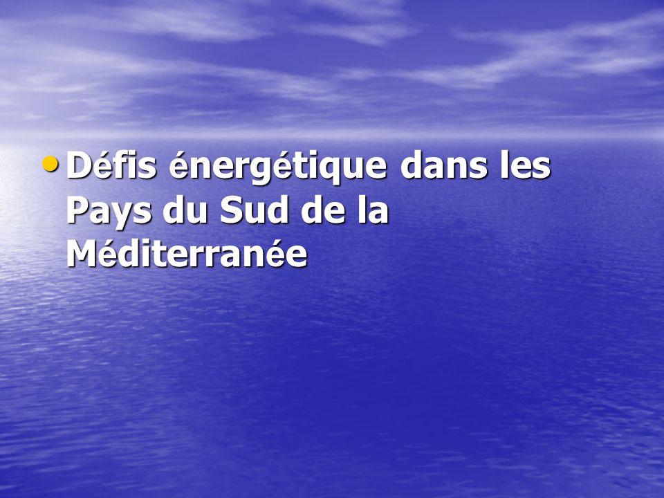 Défis énergétique dans les Pays du Sud de la Méditerranée