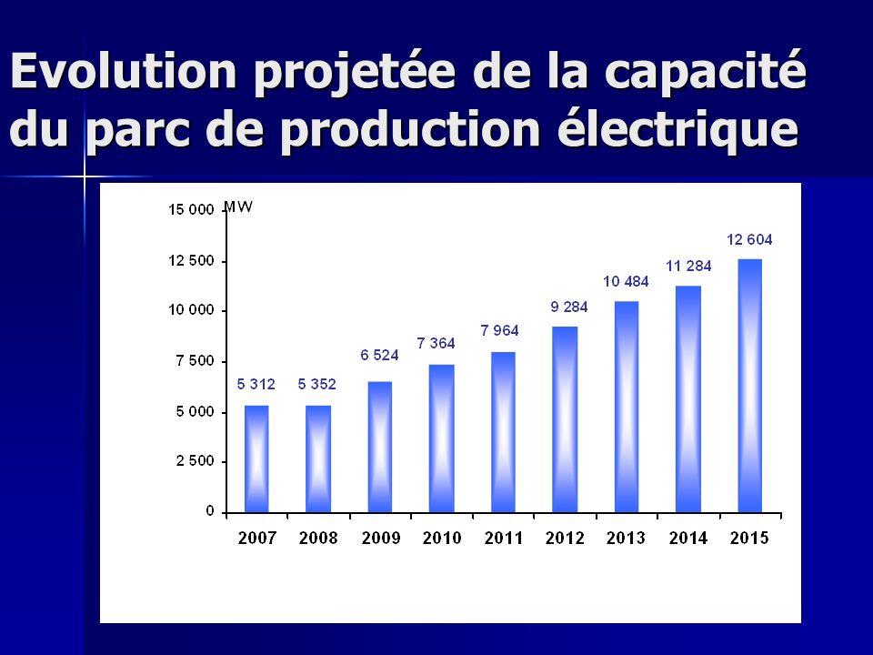 Evolution projetée de la capacité du parc de production électrique