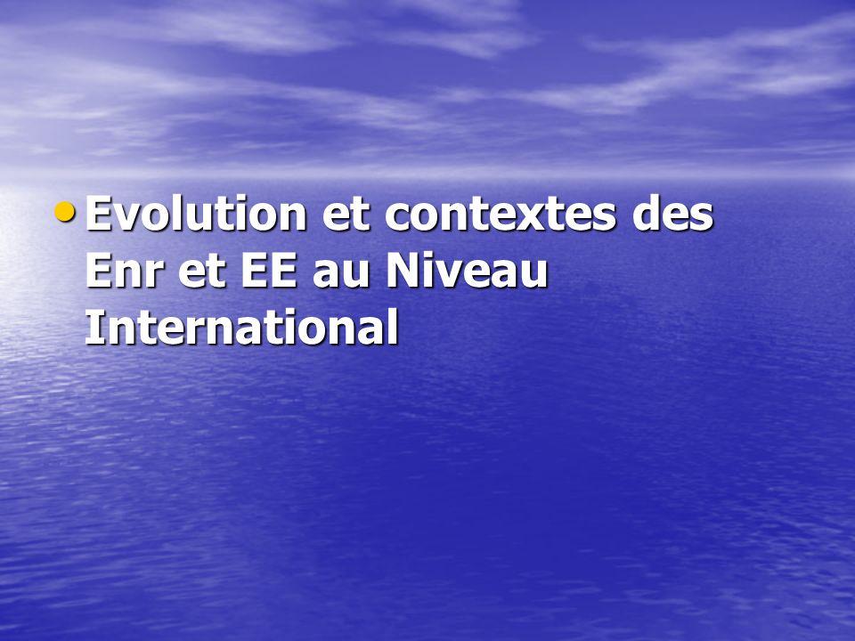 Evolution et contextes des Enr et EE au Niveau International