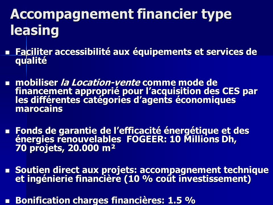 Accompagnement financier type leasing