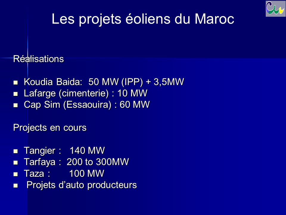 Les projets éoliens du Maroc