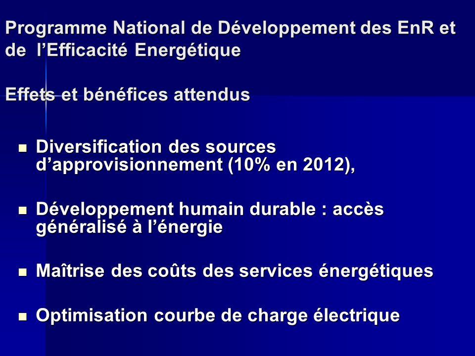 Programme National de Développement des EnR et de l'Efficacité Energétique Effets et bénéfices attendus