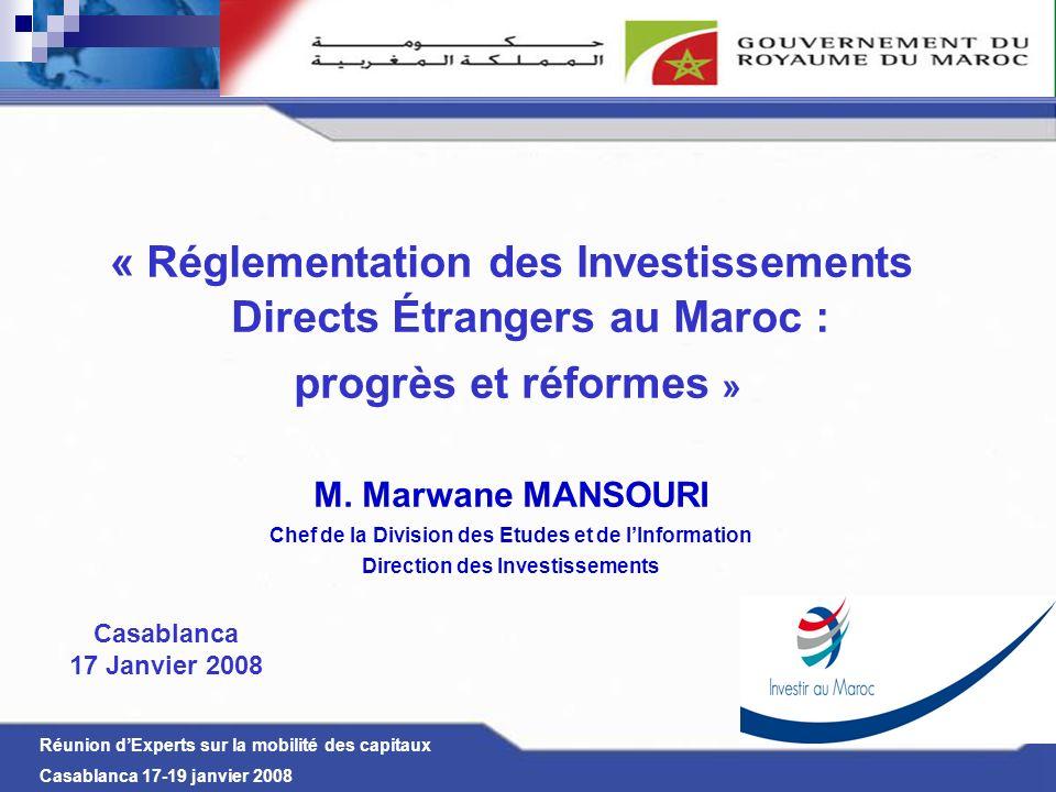 « Réglementation des Investissements Directs Étrangers au Maroc :