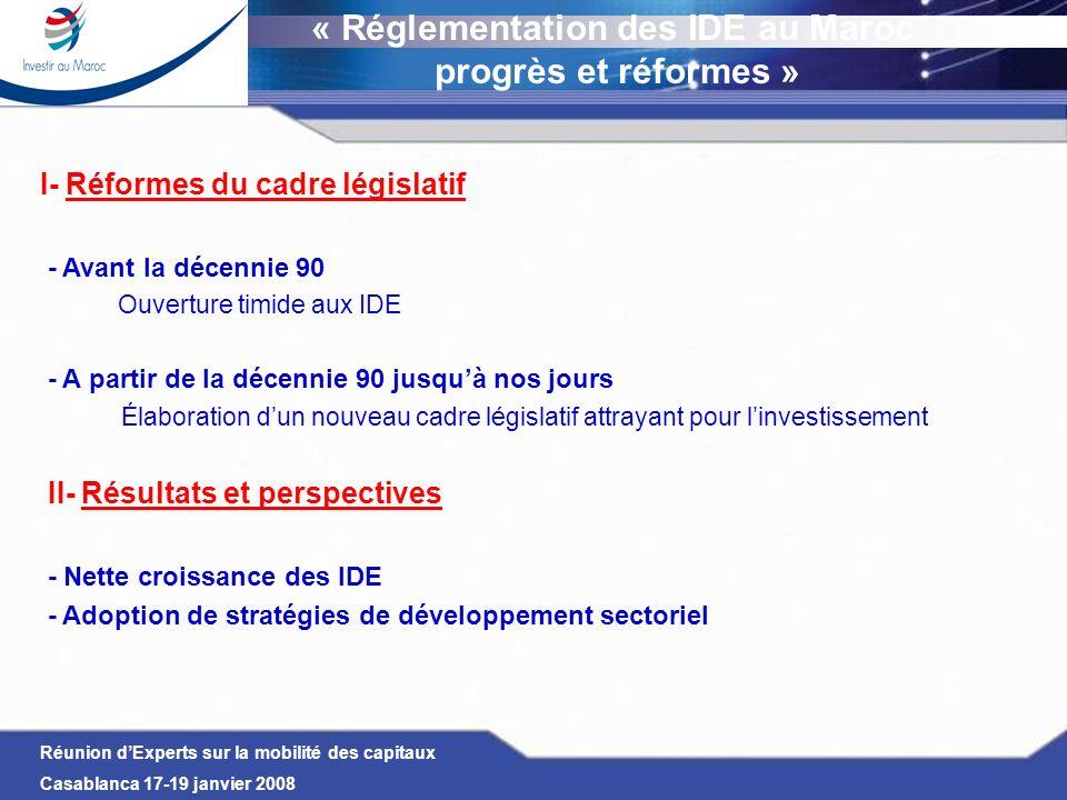 « Réglementation des IDE au Maroc