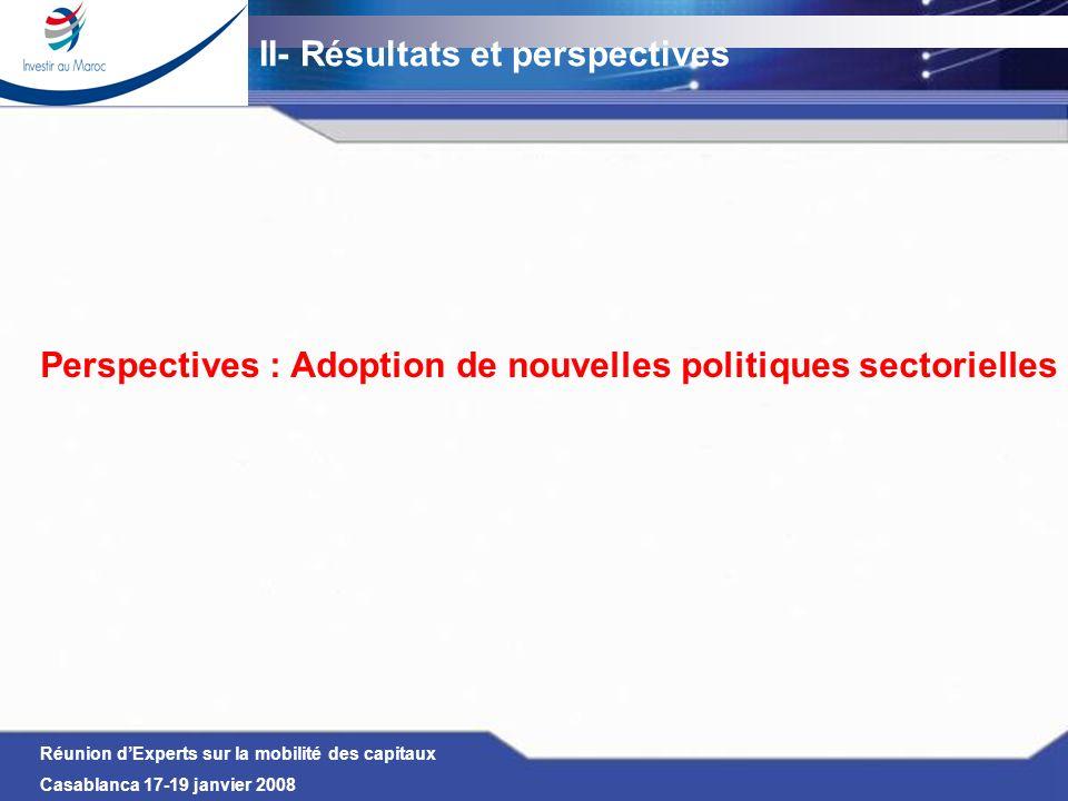 Perspectives : Adoption de nouvelles politiques sectorielles