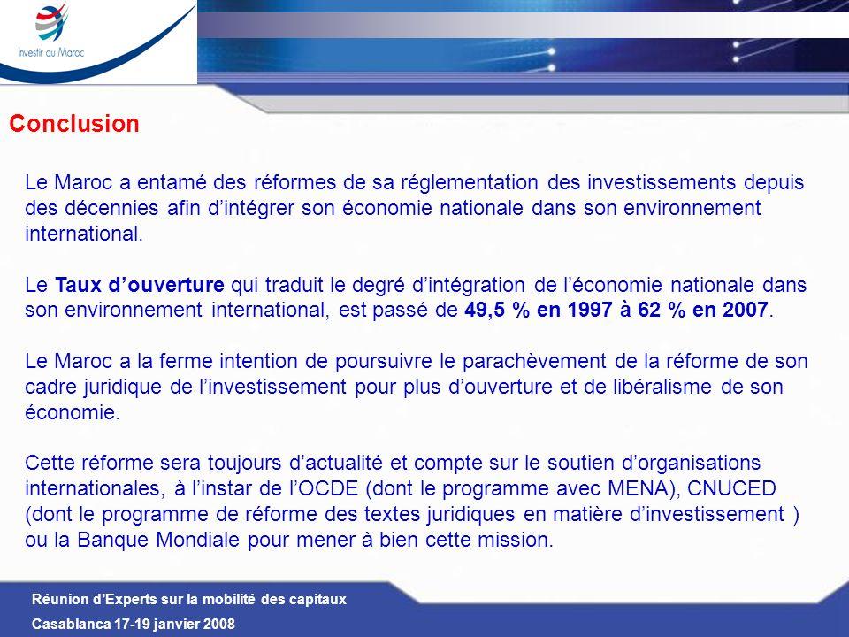 ConclusionLe Maroc a entamé des réformes de sa réglementation des investissements depuis.