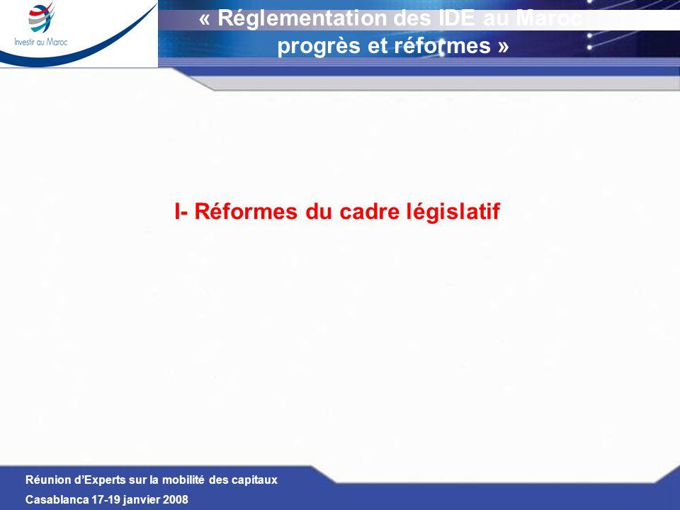 « Réglementation des IDE au Maroc I- Réformes du cadre législatif