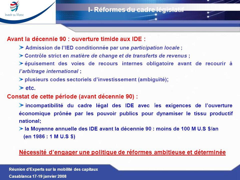 I- Réformes du cadre législatif