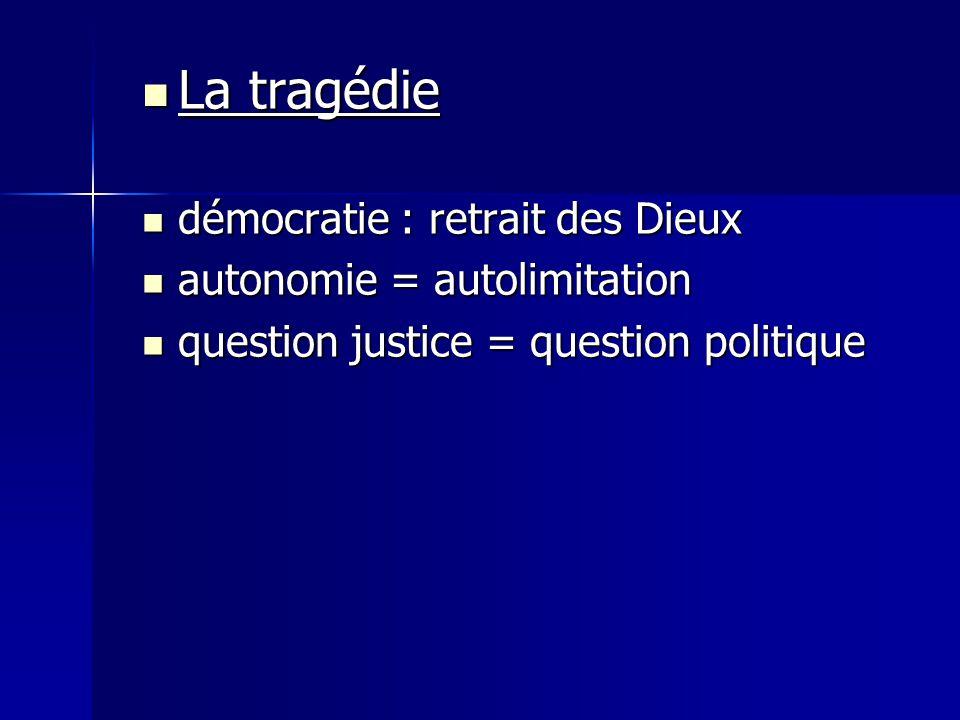La tragédie démocratie : retrait des Dieux autonomie = autolimitation