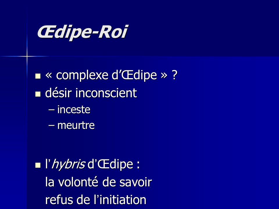 Œdipe-Roi « complexe d'Œdipe » désir inconscient l'hybris d'Œdipe :