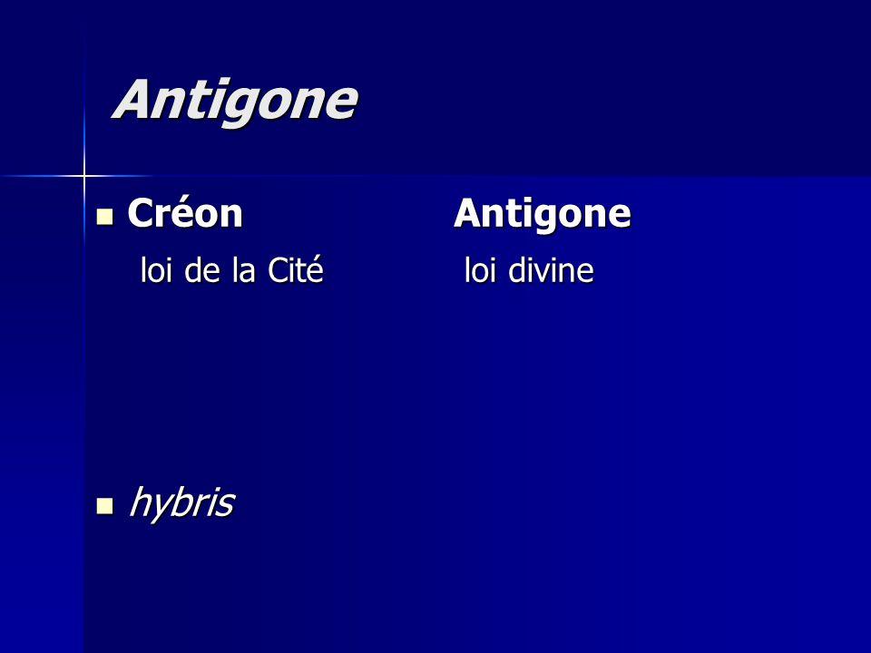Antigone Créon Antigone loi de la Cité loi divine hybris