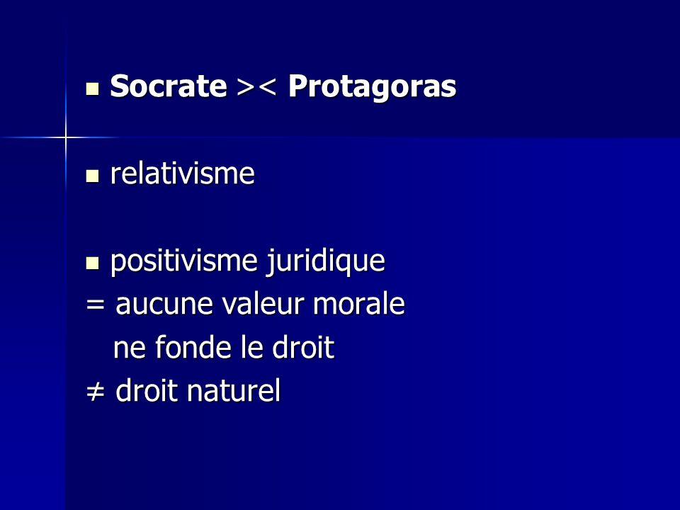 Socrate >< Protagoras