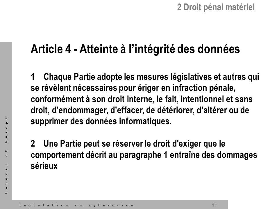 Article 4 - Atteinte à l'intégrité des données
