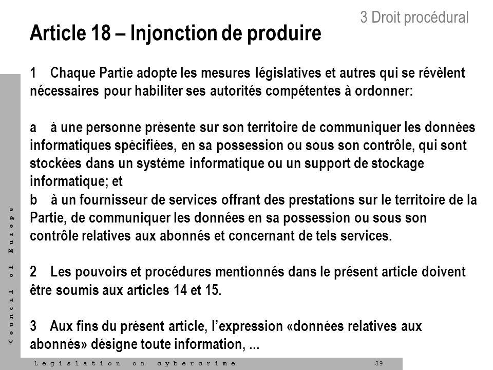 Article 18 – Injonction de produire