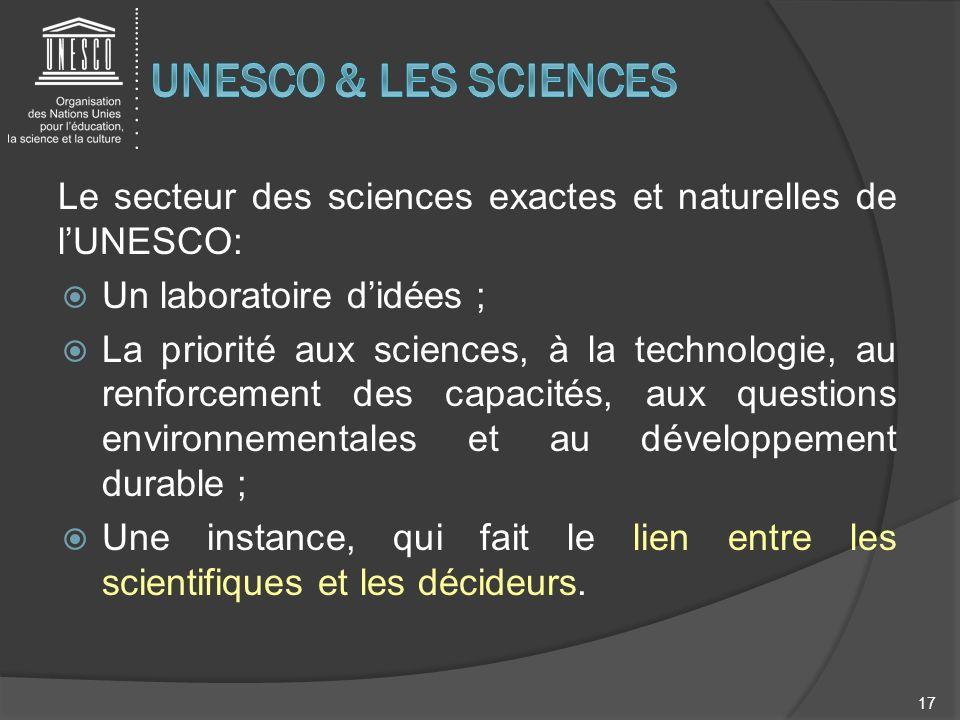 UNESCO & LES SCIENCES Le secteur des sciences exactes et naturelles de l'UNESCO: Un laboratoire d'idées ;