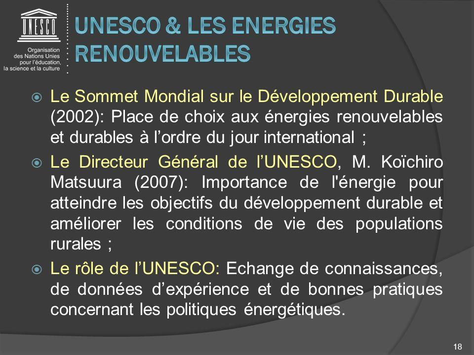 UNESCO & LES ENERGIES RENOUVELABLES