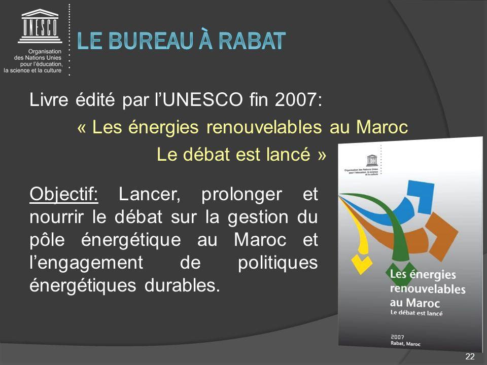 Le bureau à rabatLivre édité par l'UNESCO fin 2007: « Les énergies renouvelables au Maroc Le débat est lancé »