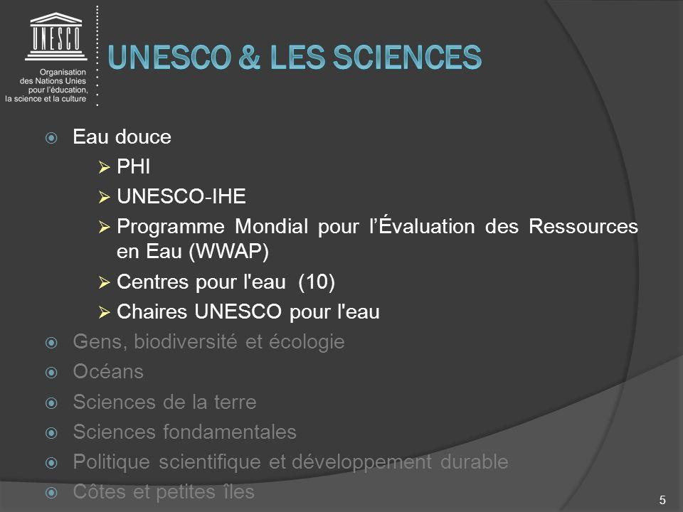 UNESCO & LES SCIENCES Eau douce PHI UNESCO-IHE