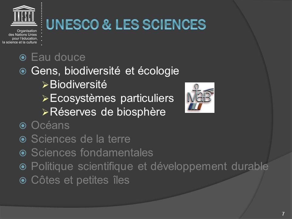 UNESCO & LES SCIENCES Eau douce Gens, biodiversité et écologie