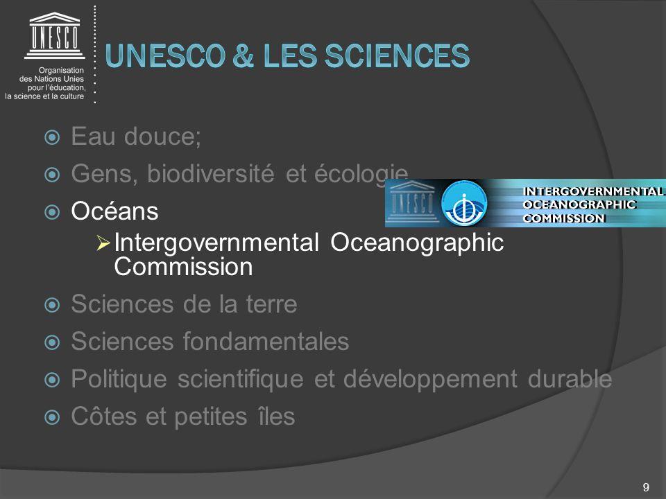 UNESCO & LES SCIENCES Eau douce; Gens, biodiversité et écologie Océans