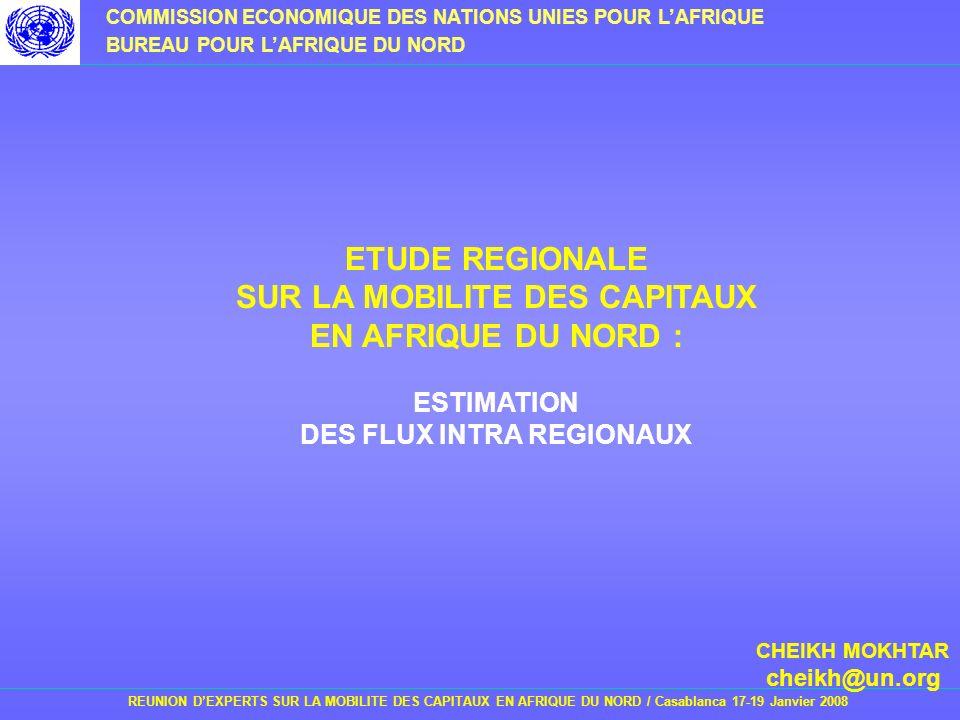 ETUDE REGIONALE SUR LA MOBILITE DES CAPITAUX EN AFRIQUE DU NORD :