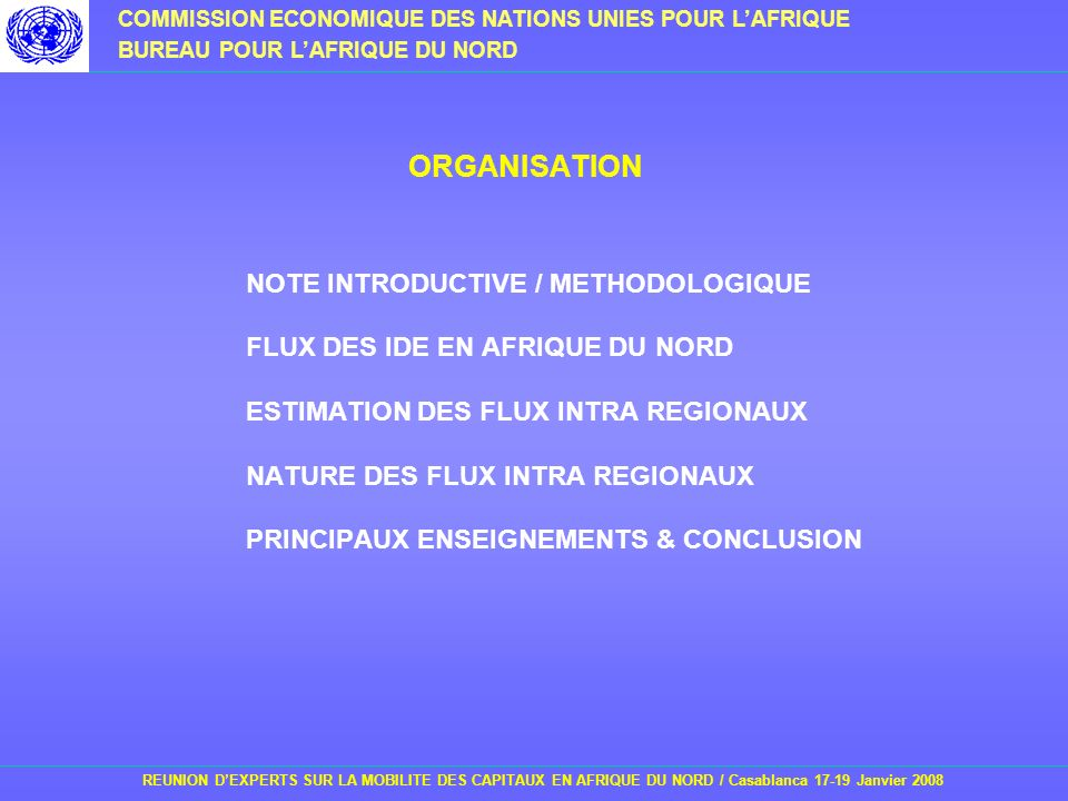 ORGANISATION NOTE INTRODUCTIVE / METHODOLOGIQUE