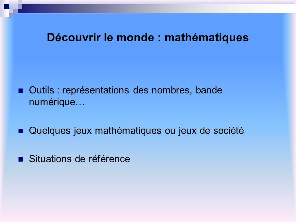 Découvrir le monde : mathématiques