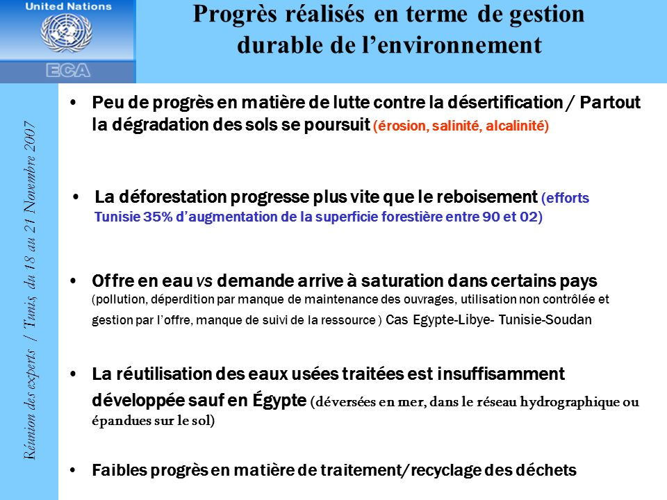 Progrès réalisés en terme de gestion durable de l'environnement
