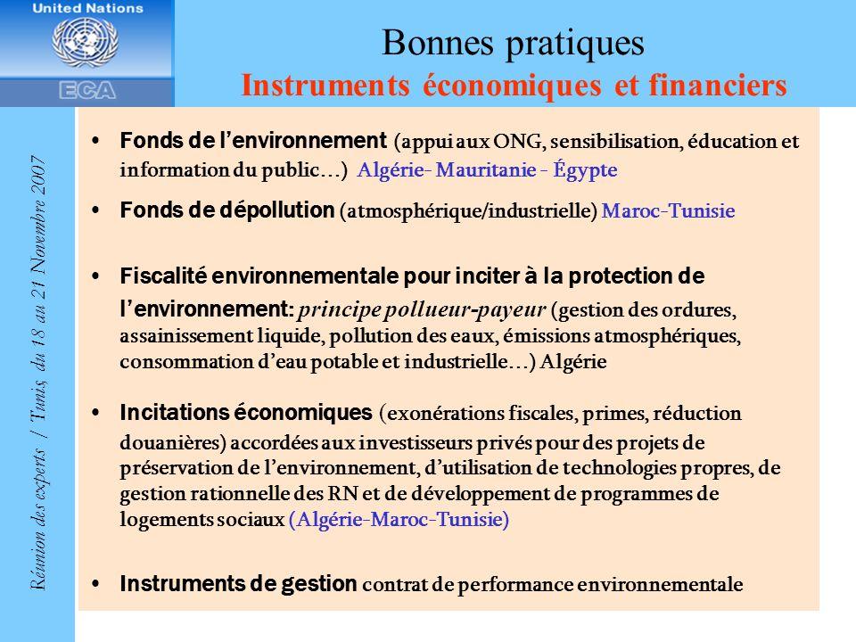 Bonnes pratiques Instruments économiques et financiers