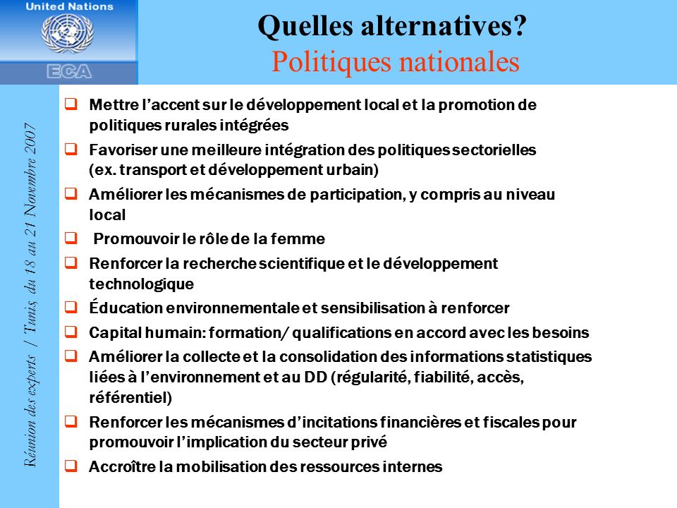 Quelles alternatives Politiques nationales