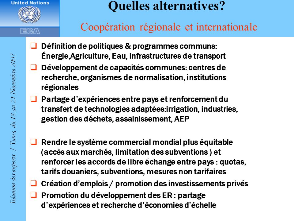 Quelles alternatives Coopération régionale et internationale