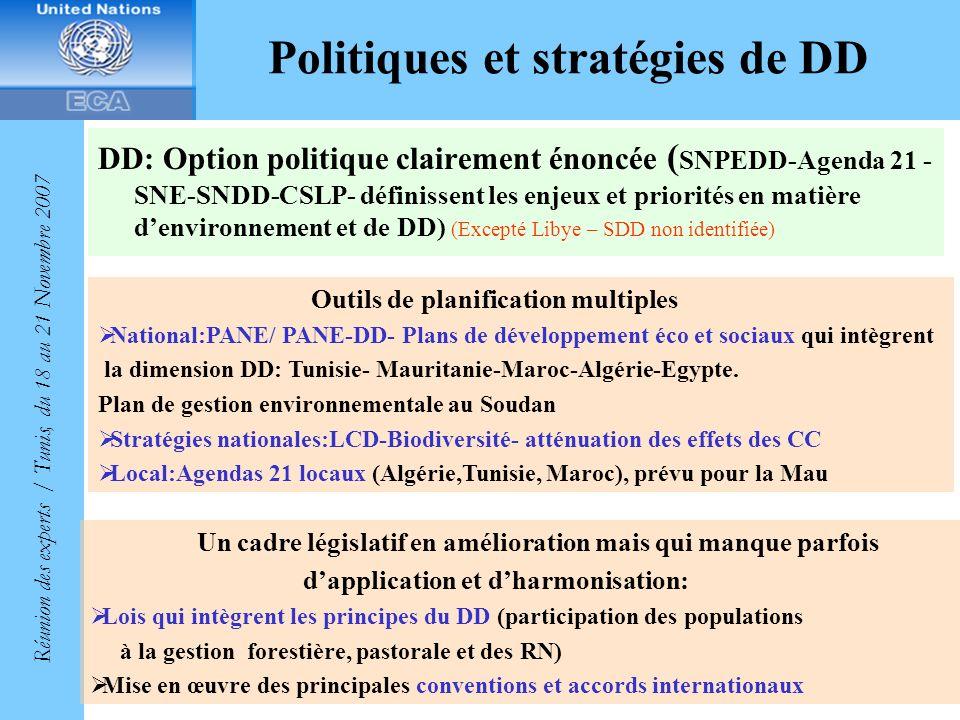 Politiques et stratégies de DD