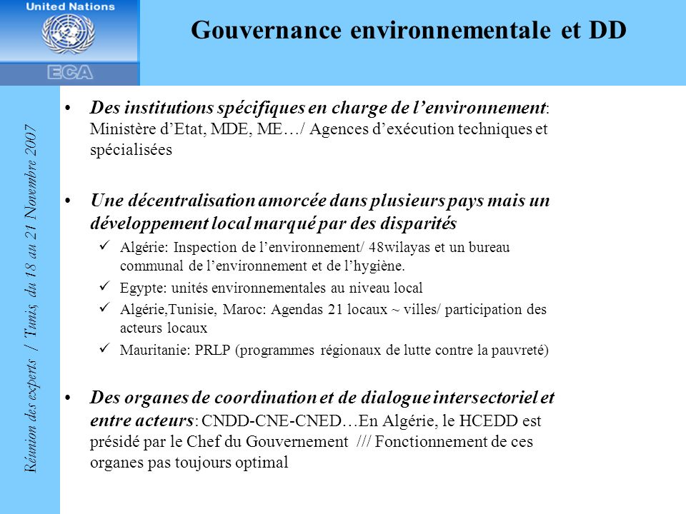 Gouvernance environnementale et DD