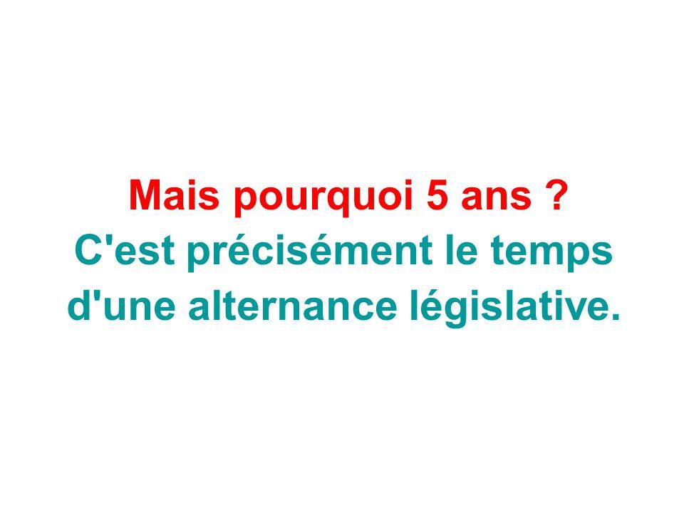 C est précisément le temps d une alternance législative.