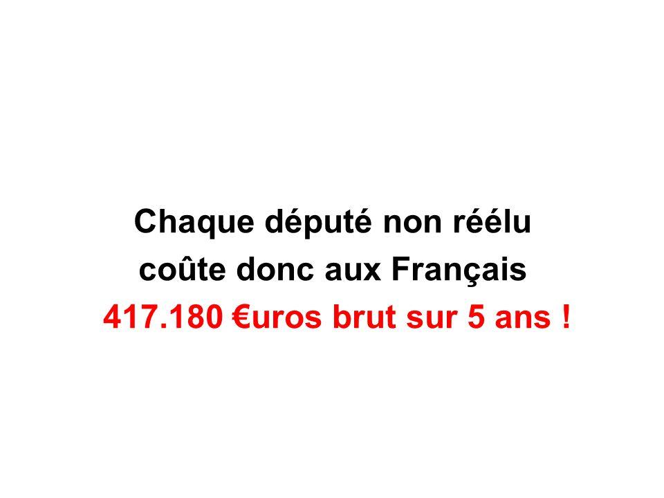 Chaque député non réélu coûte donc aux Français