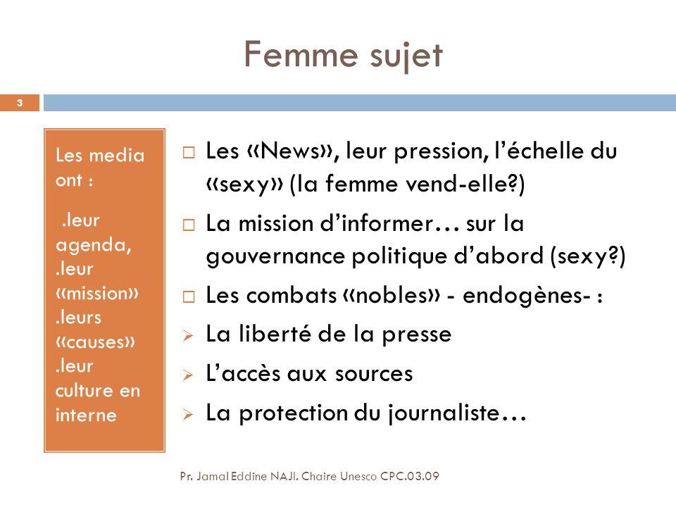 Femme sujet Les media ont : .leur agenda, .leur «mission» .leurs «causes» .leur culture en interne.
