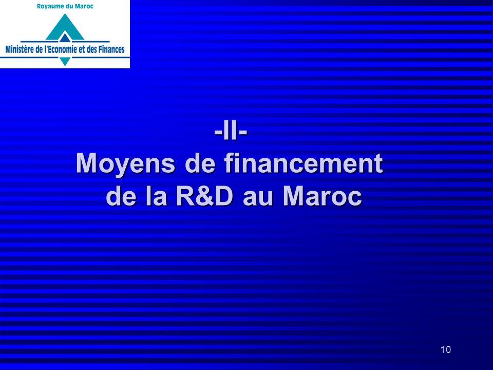 -II- Moyens de financement de la R&D au Maroc