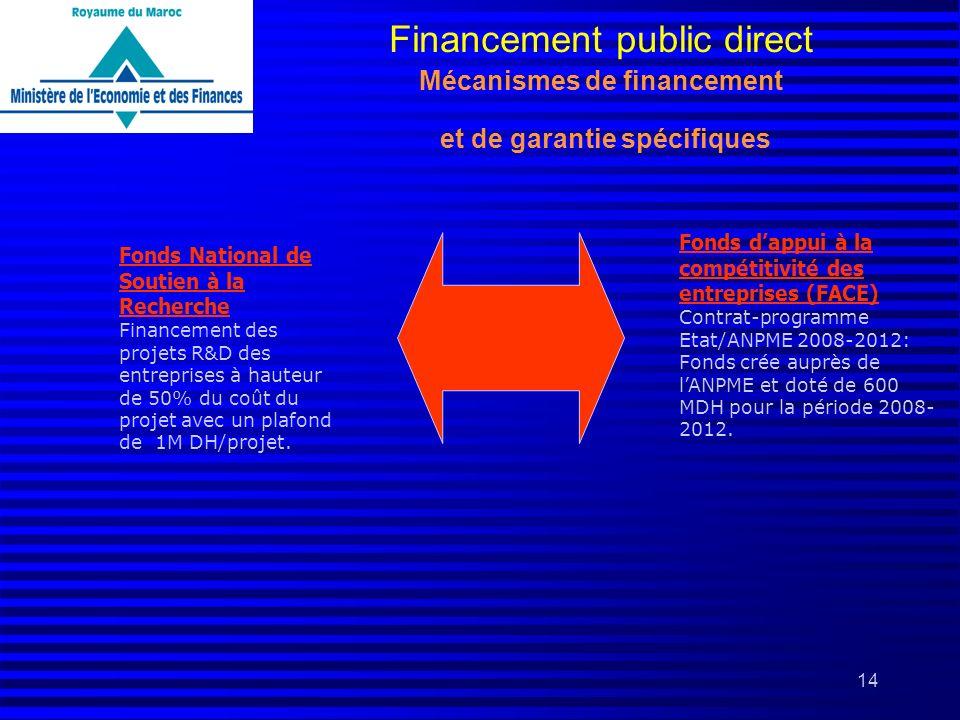 Financement public direct Mécanismes de financement et de garantie spécifiques
