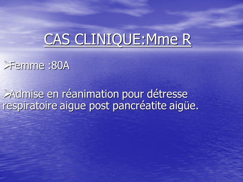 CAS CLINIQUE:Mme R Femme :80A