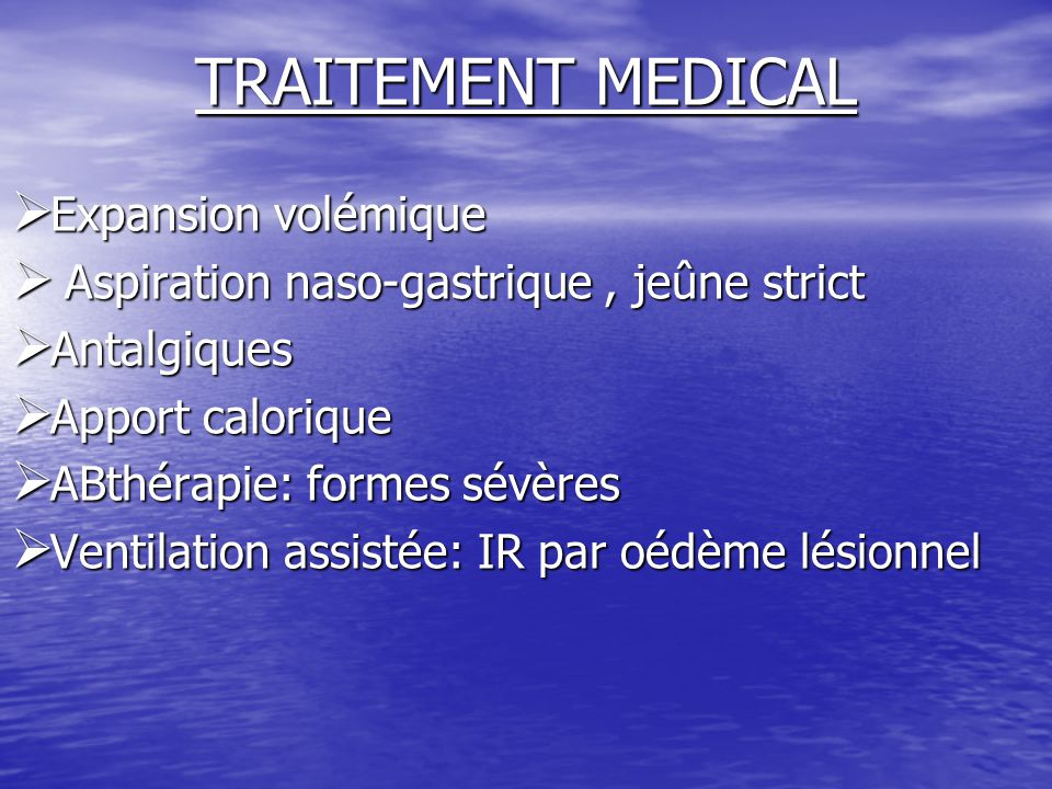 TRAITEMENT MEDICAL Expansion volémique