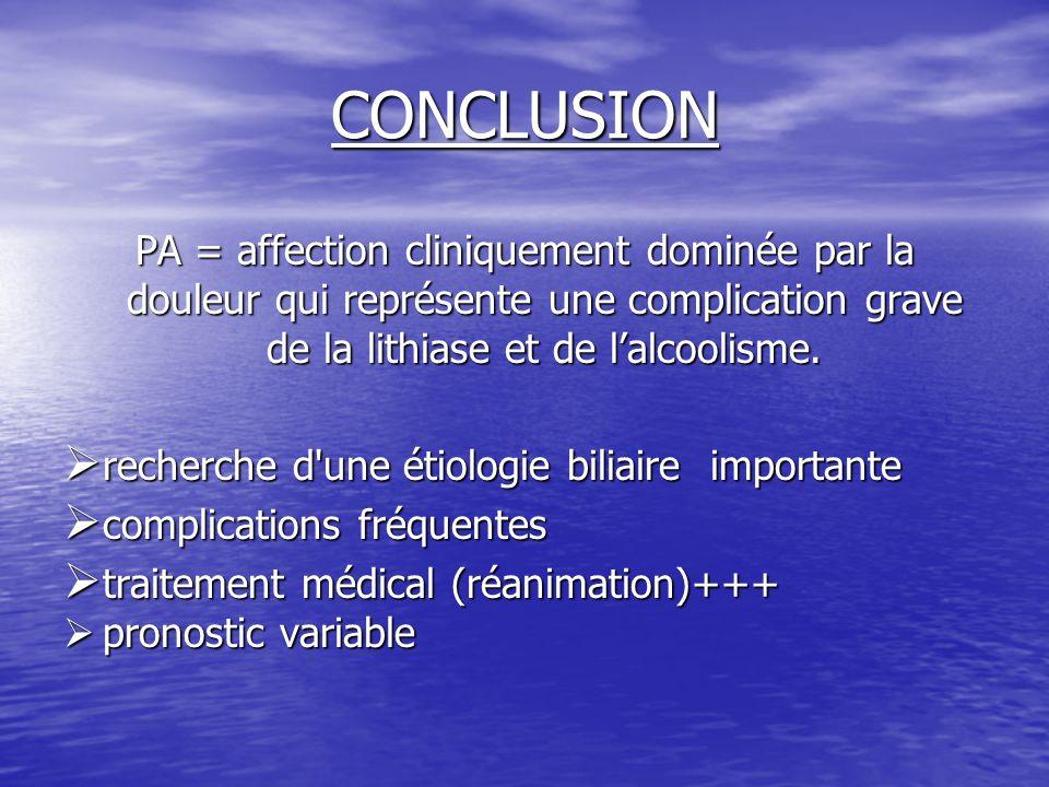 CONCLUSION PA = affection cliniquement dominée par la douleur qui représente une complication grave de la lithiase et de l'alcoolisme.