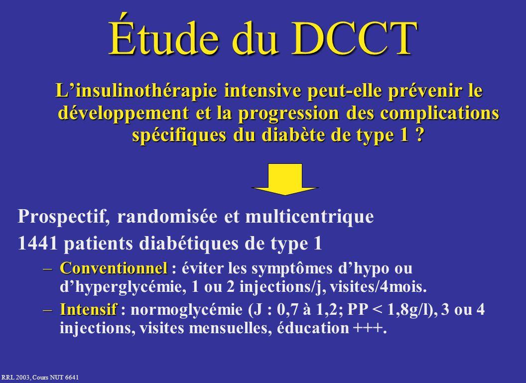Étude du DCCT L'insulinothérapie intensive peut-elle prévenir le développement et la progression des complications spécifiques du diabète de type 1