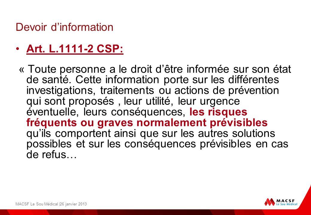 Devoir d'information Art. L.1111-2 CSP: