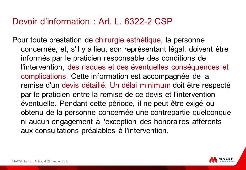 Devoir d'information : Art. L. 6322-2 CSP