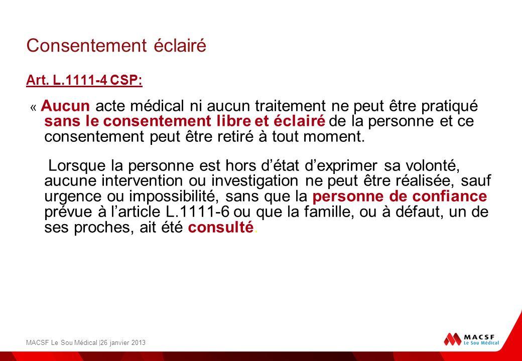 Consentement éclairéArt. L.1111-4 CSP: